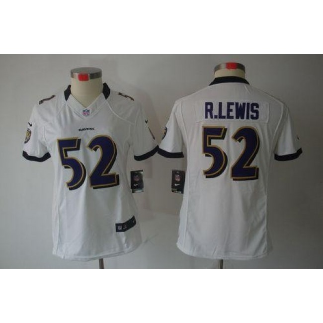 Women's Ravens #52 Ray Lewis White Stitched NFL Limited Jersey