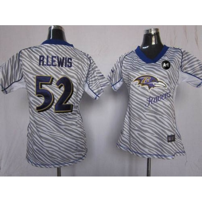 Women's Ravens #52 Ray Lewis Zebra With Art Patch Stitched NFL Elite Jersey
