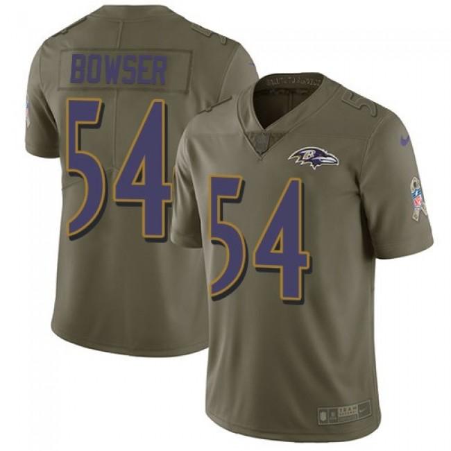 Nike Ravens #54 Tyus Bowser Olive Men's Stitched NFL Limited 2017 Salute To Service Jersey