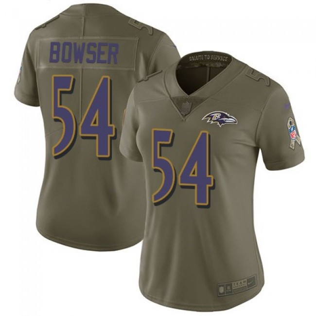 Women's Ravens #54 Tyus Bowser Olive Stitched NFL Limited 2017 Salute to Service Jersey