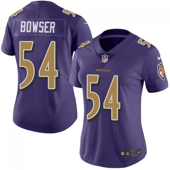 Women's Ravens #54 Tyus Bowser Purple Stitched NFL Limited Rush Jersey