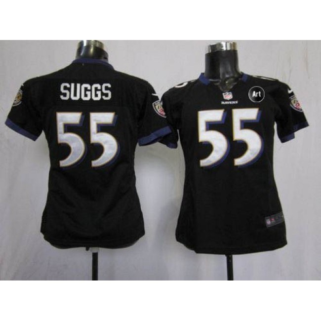 Women's Ravens #55 Terrell Suggs Black Alternate With Art Patch Stitched NFL Elite Jersey