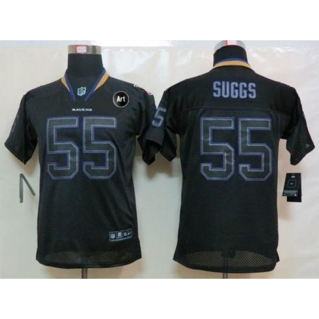 Baltimore Ravens #55 Terrell Suggs Lights Out Black With Art Patch Youth Stitched NFL Elite Jersey