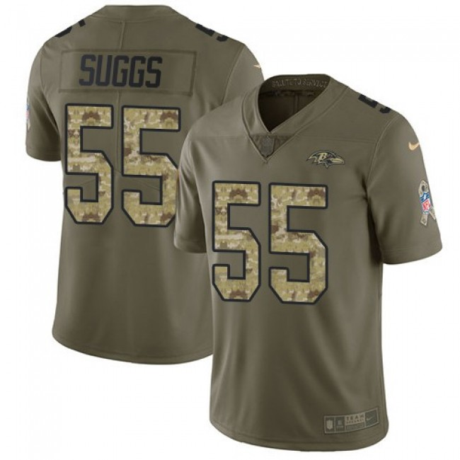 Baltimore Ravens #55 Terrell Suggs Olive-Camo Youth Stitched NFL Limited 2017 Salute to Service Jersey