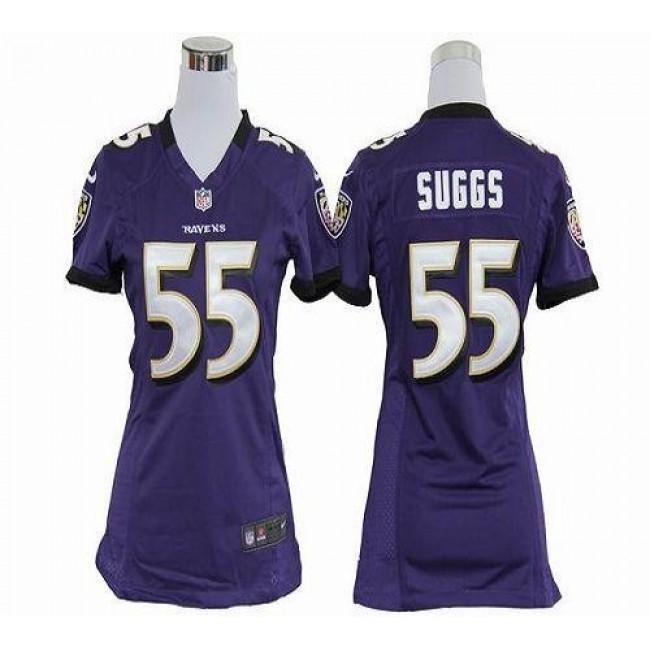 Women's Ravens #55 Terrell Suggs Purple Team Color Stitched NFL Elite Jersey