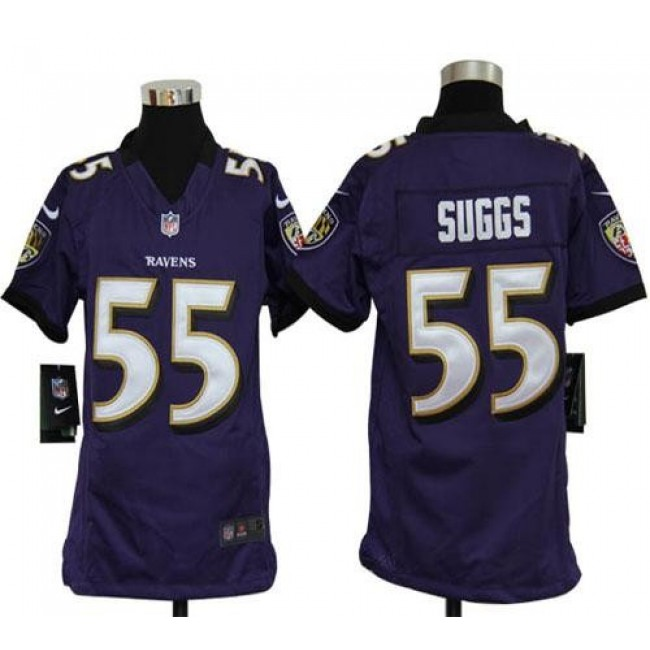 Baltimore Ravens #55 Terrell Suggs Purple Team Color Youth Stitched NFL Elite Jersey