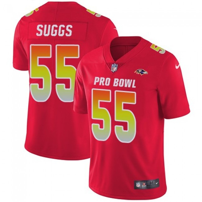 Women's Ravens #55 Terrell Suggs Red Stitched NFL Limited AFC 2018 Pro Bowl Jersey