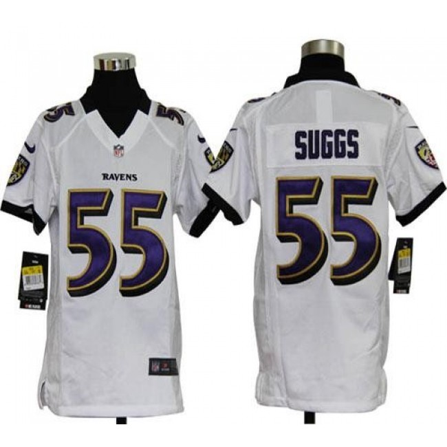 Baltimore Ravens #55 Terrell Suggs White Youth Stitched NFL Elite Jersey