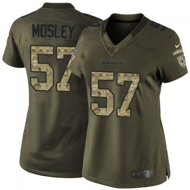 Women's Ravens #57 C.J. Mosley Green Stitched NFL Limited Salute to Service Jersey