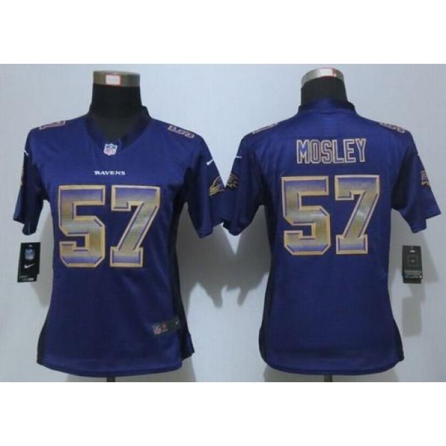Women's Ravens #57 C.J. Mosley Purple Team Color Stitched NFL Elite Strobe Jersey