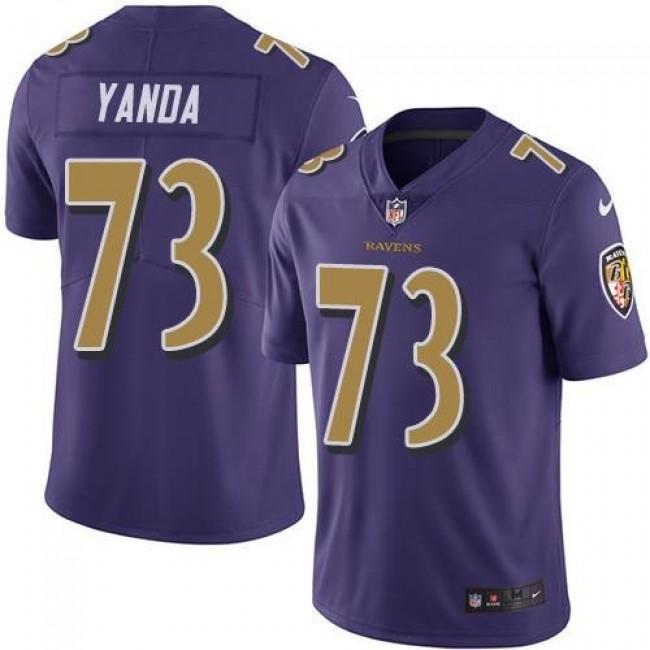Nike Ravens #73 Marshal Yanda Purple Men's Stitched NFL Limited Rush Jersey