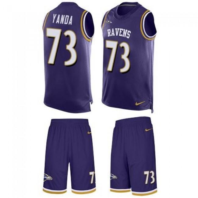 Nike Ravens #73 Marshal Yanda Purple Team Color Men's Stitched NFL Limited Tank Top Suit Jersey