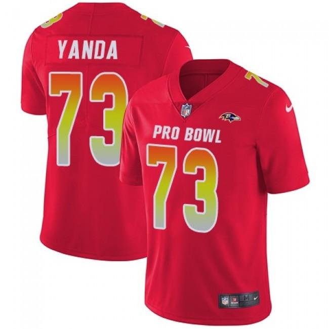 Nike Ravens #73 Marshal Yanda Red Men's Stitched NFL Limited AFC 2019 Pro Bowl Jersey