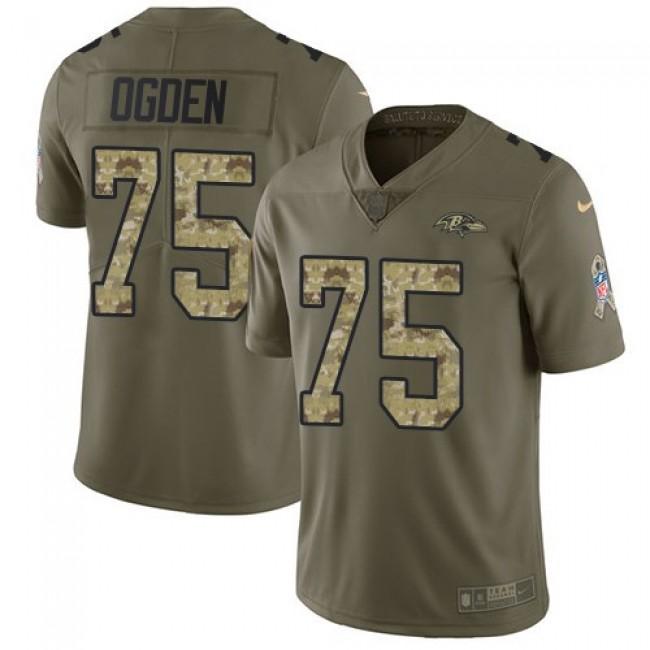 Nike Ravens #75 Jonathan Ogden Olive/Camo Men's Stitched NFL Limited 2017 Salute To Service Jersey