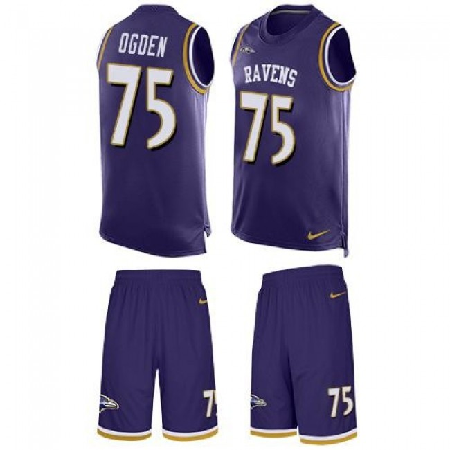 Nike Ravens #75 Jonathan Ogden Purple Team Color Men's Stitched NFL Limited Tank Top Suit Jersey