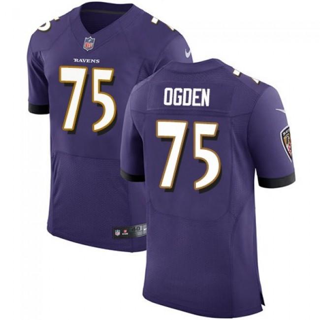 Nike Ravens #75 Jonathan Ogden Purple Team Color Men's Stitched NFL Vapor Untouchable Elite Jersey