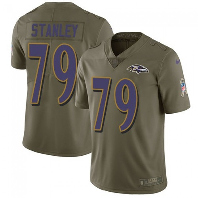 Nike Ravens #79 Ronnie Stanley Olive Men's Stitched NFL Limited 2017 Salute To Service Jersey