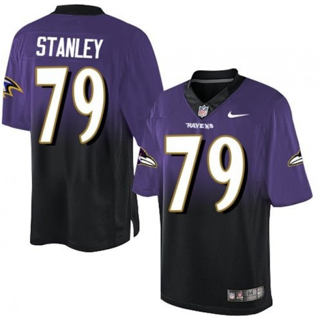 Nike Ravens #79 Ronnie Stanley Purple/Black Men's Stitched NFL Elite Fadeaway Fashion Jersey