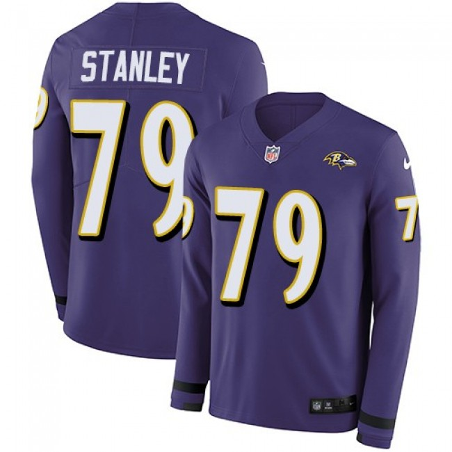 Nike Ravens #79 Ronnie Stanley Purple Team Color Men's Stitched NFL Limited Therma Long Sleeve Jersey