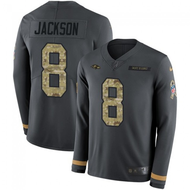 Nike Ravens #8 Lamar Jackson Anthracite Salute to Service Men's Stitched NFL Limited Therma Long Sleeve Jersey
