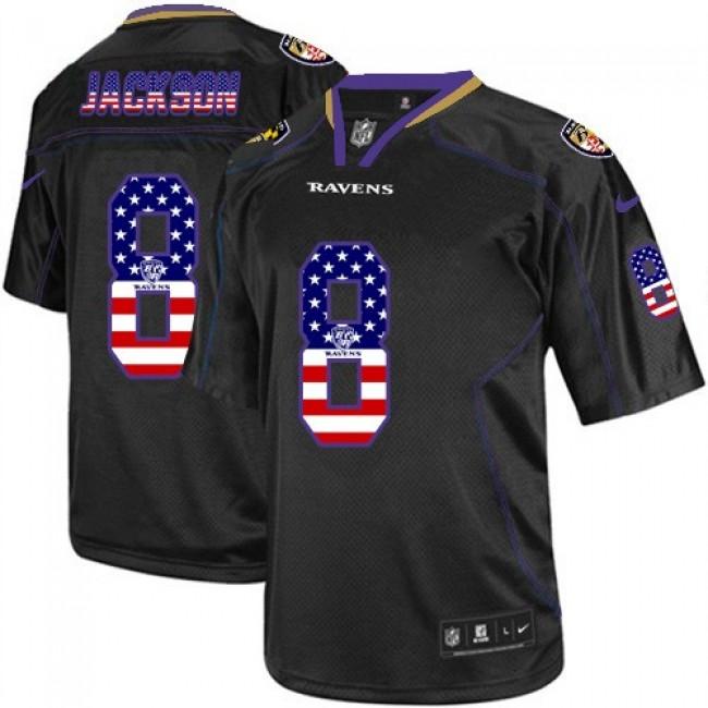 Nike Ravens #8 Lamar Jackson Black Men's Stitched NFL Elite USA Flag Fashion Jersey