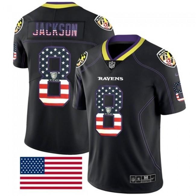 Nike Ravens #8 Lamar Jackson Black Men's Stitched NFL Limited Rush USA Flag Jersey