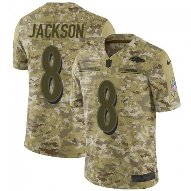 Nike Ravens #8 Lamar Jackson Camo Men's Stitched NFL Limited 2018 Salute To Service Jersey