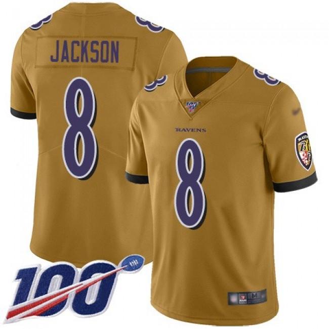 Nike Ravens #8 Lamar Jackson Gold Men's Stitched NFL Limited Inverted Legend 100th Season Jersey