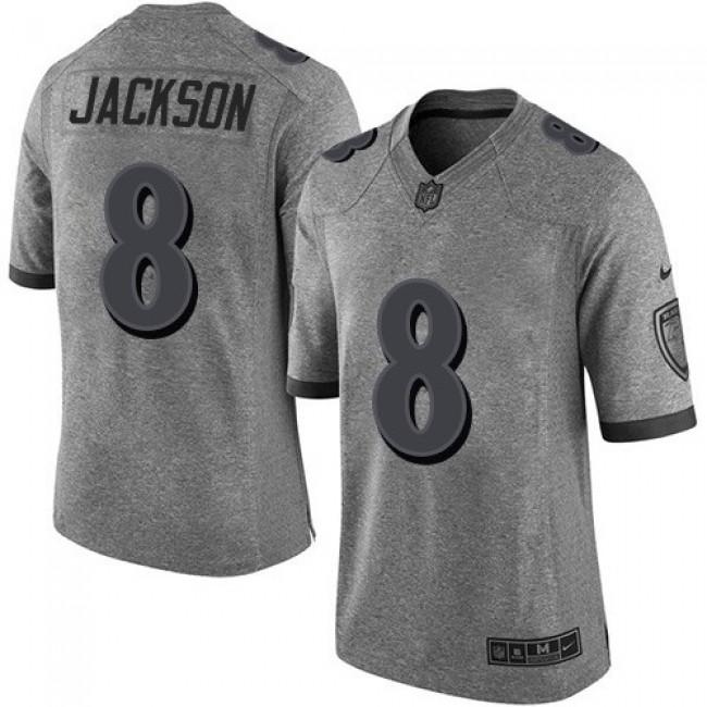 Nike Ravens #8 Lamar Jackson Gray Men's Stitched NFL Limited Gridiron Gray Jersey
