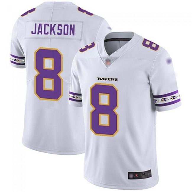 Nike Ravens #8 Lamar Jackson White Men's Stitched NFL Limited Team Logo Fashion Jersey
