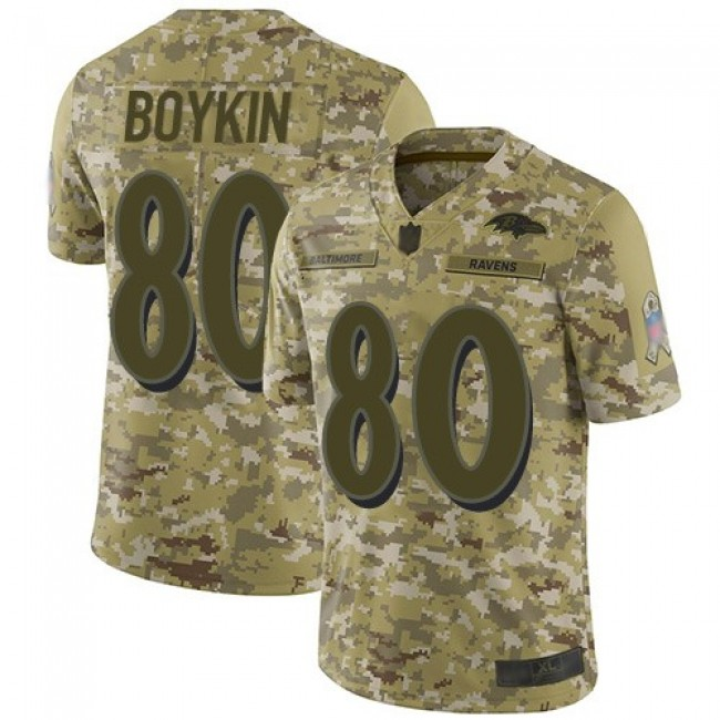 Nike Ravens #80 Miles Boykin Camo Men's Stitched NFL Limited 2018 Salute To Service Jersey