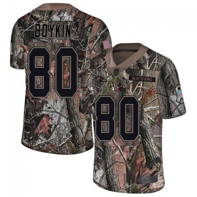 Nike Ravens #80 Miles Boykin Camo Men's Stitched NFL Limited Rush Realtree Jersey