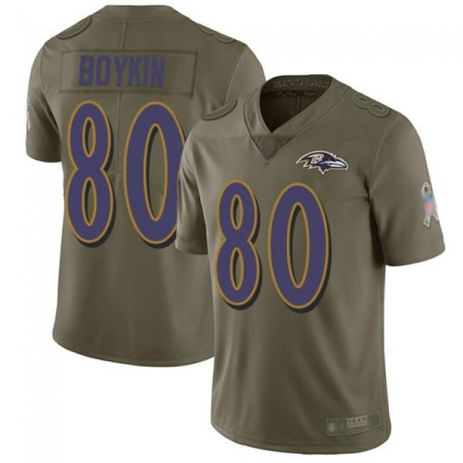 Nike Ravens #80 Miles Boykin Olive Men's Stitched NFL Limited 2017 Salute To Service Jersey