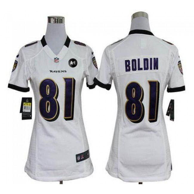 Women's Ravens #81 Anquan Boldin White With Art Patch Stitched NFL Elite Jersey