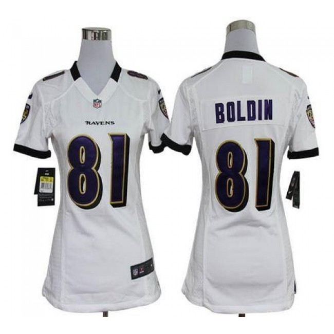 Women's Ravens #81 Anquan Boldin White Stitched NFL Elite Jersey