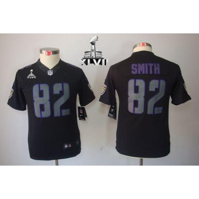 Baltimore Ravens #82 Torrey Smith Black Impact Super Bowl XLVII Youth Stitched NFL Limited Jersey