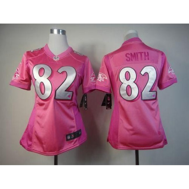 Women's Ravens #82 Torrey Smith Pink Be Luv'd Stitched NFL Elite Jersey