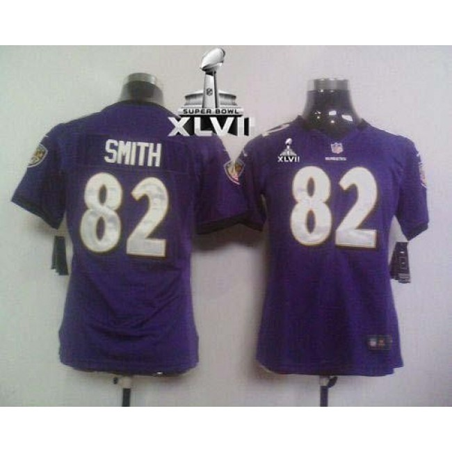 Women's Ravens #82 Torrey Smith Purple Team Color Super Bowl XLVII Stitched NFL Elite Jersey