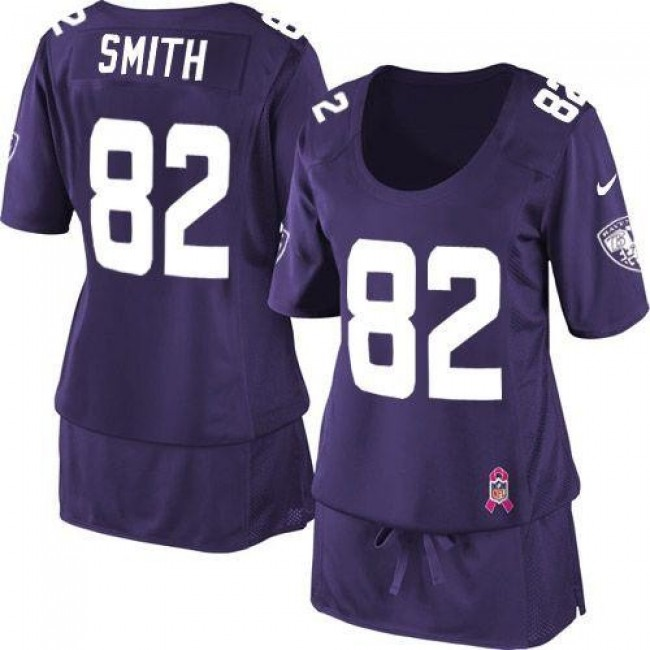 Women's Ravens #82 Torrey Smith Purple Team Color Breast Cancer Awareness Stitched NFL Elite Jersey