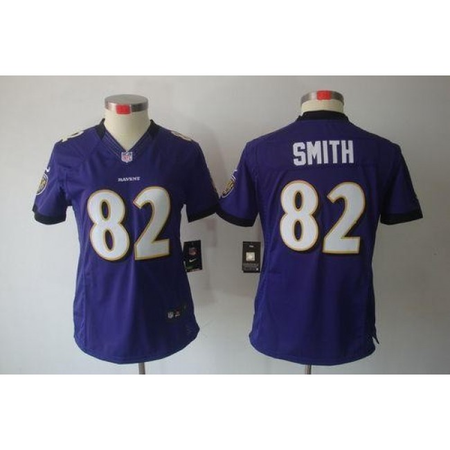 Women's Ravens #82 Torrey Smith Purple Team Color Stitched NFL Limited Jersey