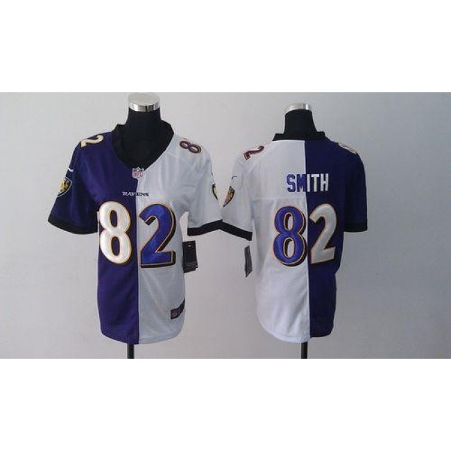 Women's Ravens #82 Torrey Smith Purple White Stitched NFL Elite Split Jersey