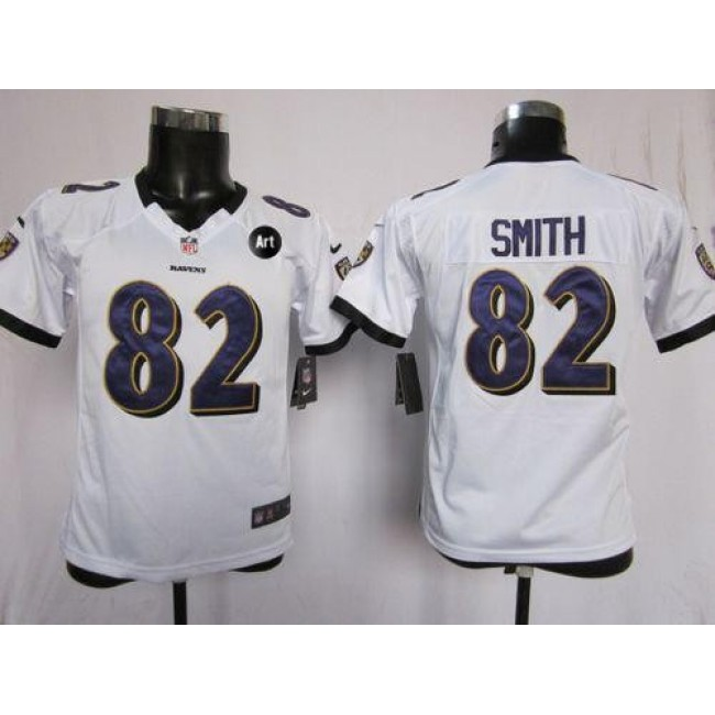 Baltimore Ravens #82 Torrey Smith White With Art Patch Youth Stitched NFL Elite Jersey