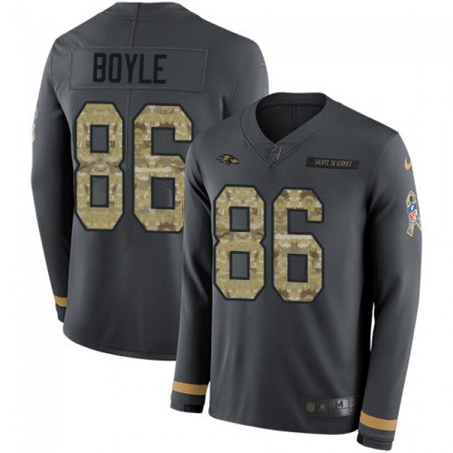 Nike Ravens #86 Nick Boyle Anthracite Salute to Service Men's Stitched NFL Limited Therma Long Sleeve Jersey