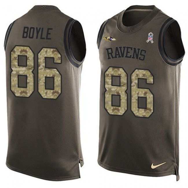 Nike Ravens #86 Nick Boyle Green Men's Stitched NFL Limited Salute To Service Tank Top Jersey