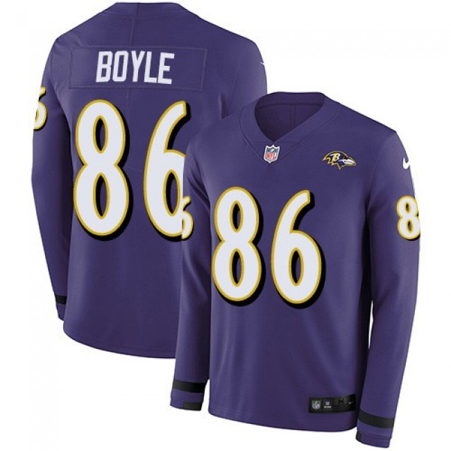Nike Ravens #86 Nick Boyle Purple Team Color Men's Stitched NFL Limited Therma Long Sleeve Jersey