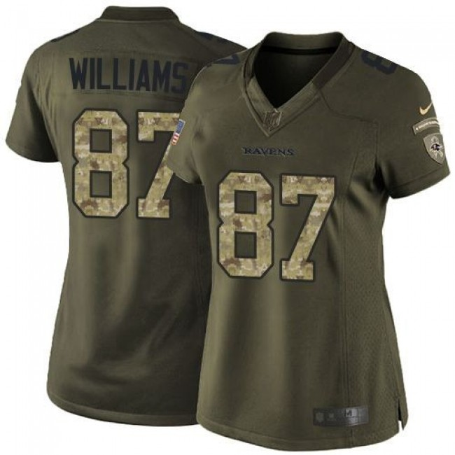 Women's Ravens #87 Maxx Williams Green Stitched NFL Limited Salute to Service Jersey