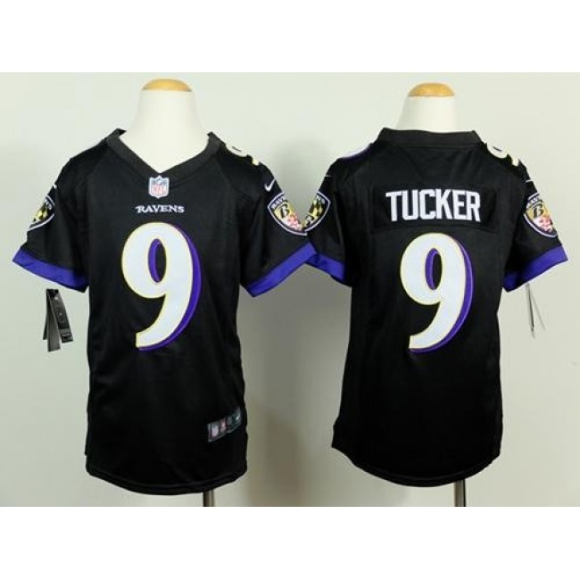 Baltimore Ravens #9 Justin Tucker Black Alternate Youth Stitched NFL New Elite Jersey