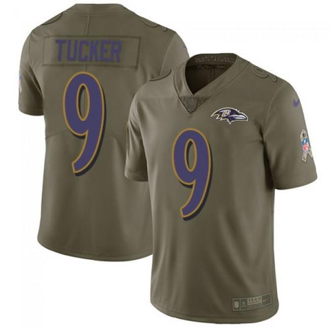 Nike Ravens #9 Justin Tucker Olive Men's Stitched NFL Limited 2017 Salute To Service Jersey