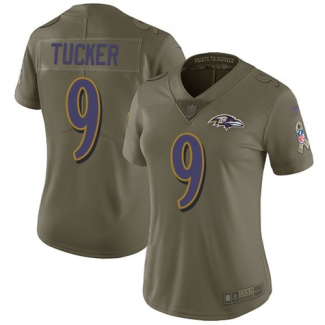 Women's Ravens #9 Justin Tucker Olive Stitched NFL Limited 2017 Salute to Service Jersey