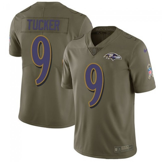 Baltimore Ravens #9 Justin Tucker Olive Youth Stitched NFL Limited 2017 Salute to Service Jersey
